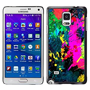TopCaseStore / la caja del caucho duro de la cubierta de protección de la piel - Colorfol Bright Painting Modern Paint Splash - Samsung Galaxy Note 4 SM-N910
