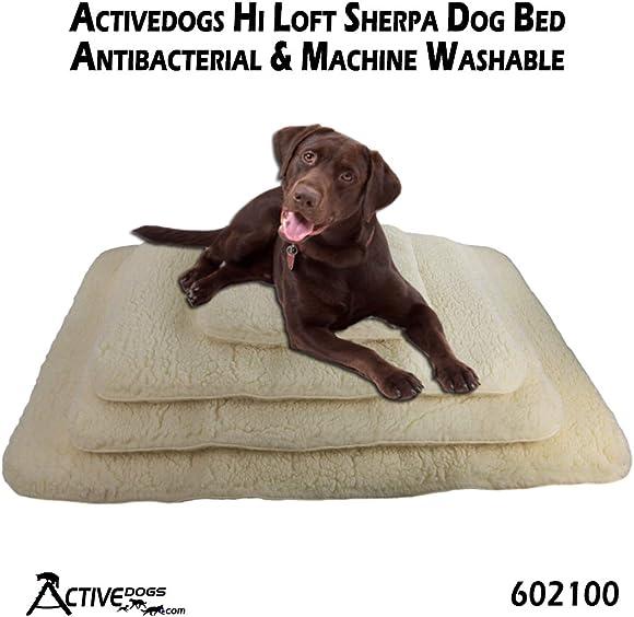 Activedogs Hi Loft Faux Lambskin Plush Sherpa Dog Bed – 4 Orthopedic Machine Washable – Double Layered