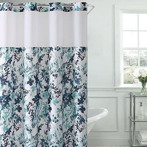 Hookless Water Color Floral Print Shower Curtain with PEVA, Aqua