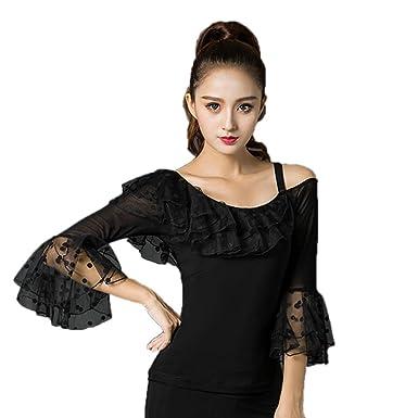 e89bcead6592 NAKOKOU Sexy Latin Dance Tops Black Fashion Modal Wear Women Ballroom Shirt  Tango Samba Costumes (