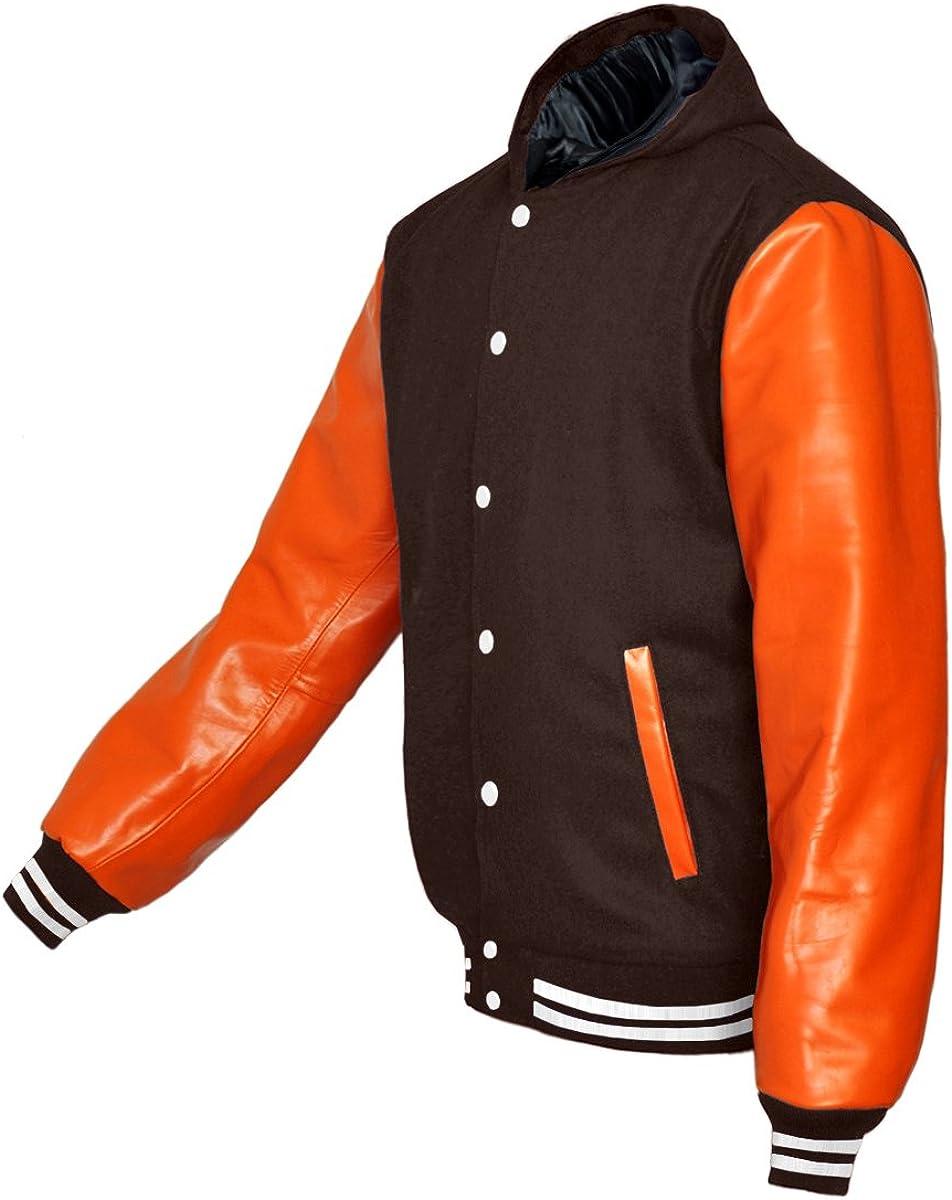 luvsecretlingerie Superb Genuine Orange Leather Sleeve Letterman College Varsity Men Wool Jackets
