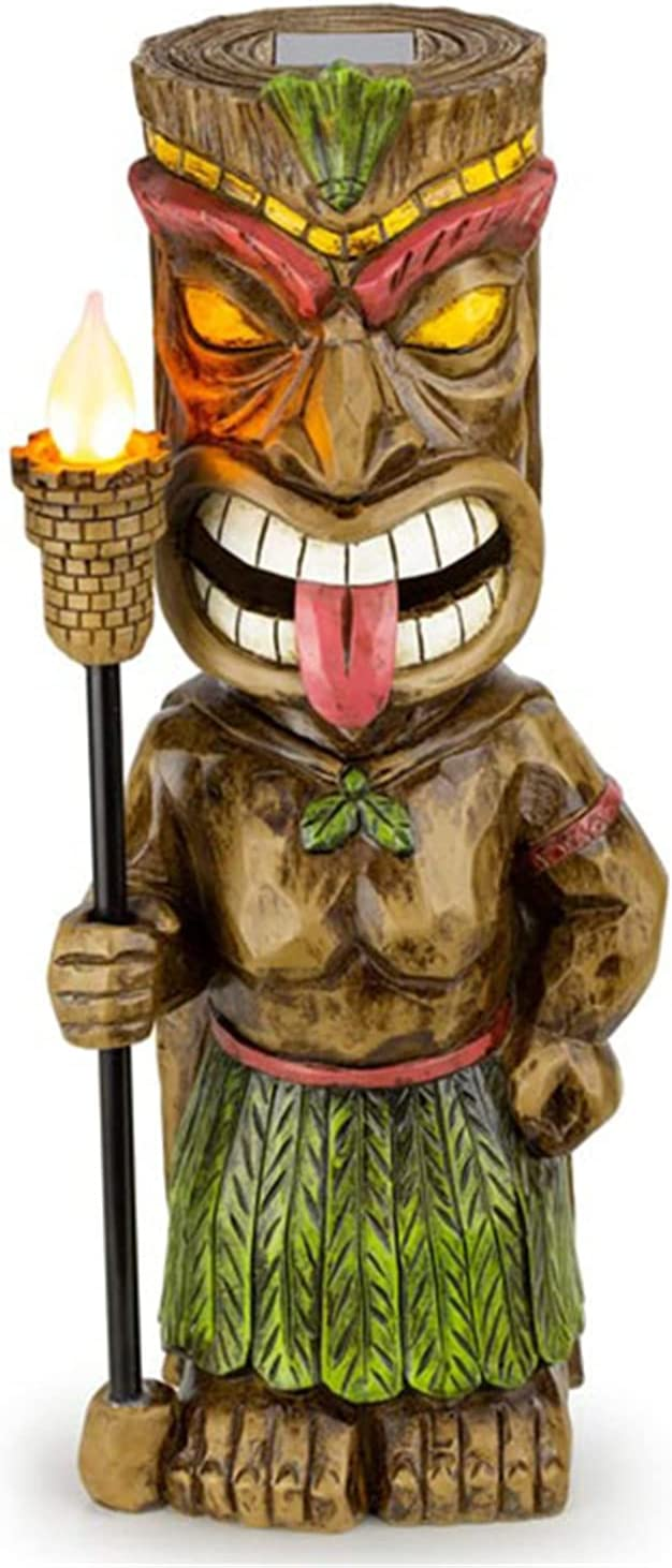 Tiki Guard Solar Powered Outdoor Decor LED Garden Light with Flickering Torch, Decoration Crafts Gardening Sculpture Lawn Lamp for Courtyard, Outdoor Solar Lights, Lawn Pathway Yard Decoration
