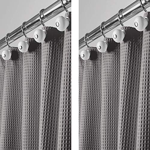 mDesign - 2 Pack - Long Polyester/Cotton Blend Fabric Shower Curtain with Waffle Weave and Rustproof Metal Grommets for Bathroom Showers and Bathtubs - 72