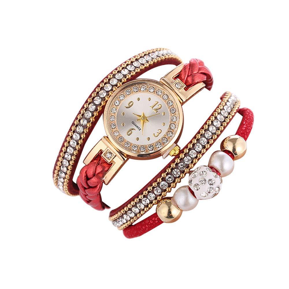 Smemek Mode Cuir Bracelet Montre Femme Rhinestone Elegant Bracelet Jewelry pour Femme Quartz Casual Montre (C)