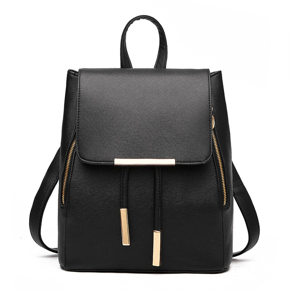 Backpacks,Sunroyal Women Girls Leather Schoolbags Travel Casual Shoulder Bag Mochila-Black