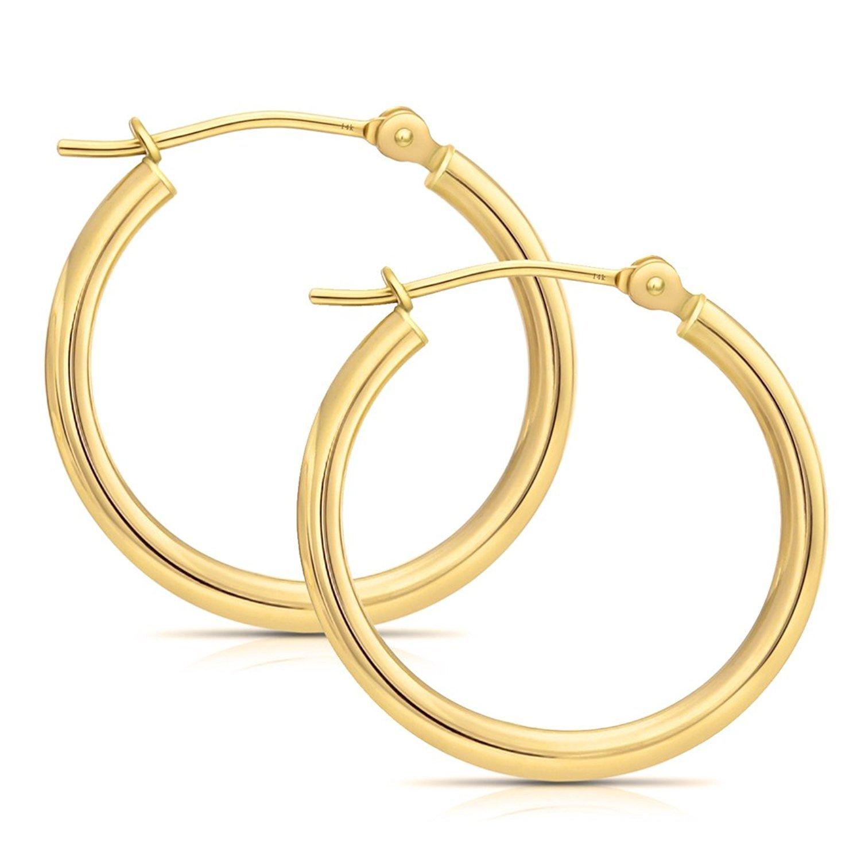 14k Gold Hoop Earrings, 0.8'' Diameter (yellow-gold)