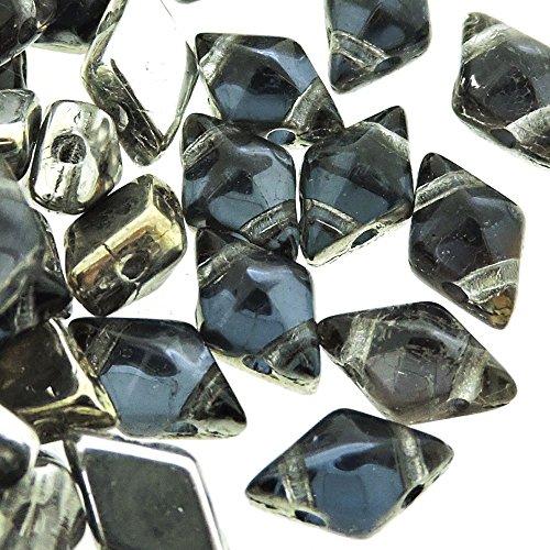 Czech Glass DiamonDuo, 2-Hole Diamond Shaped Beads 5x8mm, 10 Grams, Prismatic Stormy - Prismatic Glass 10