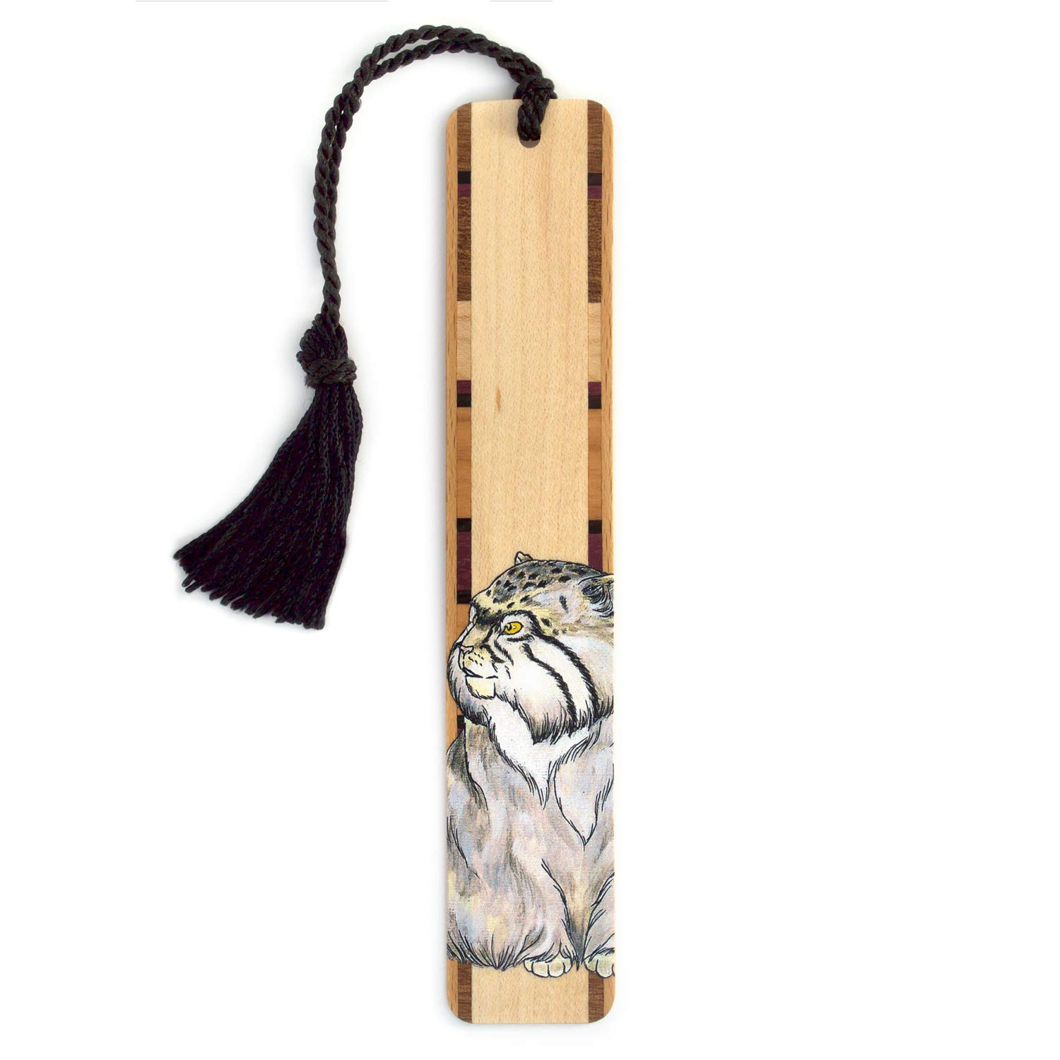 Wood Bookmark with Cat Drawing by Kathleen Barsness - Includes Black Rope Tassel - American Made