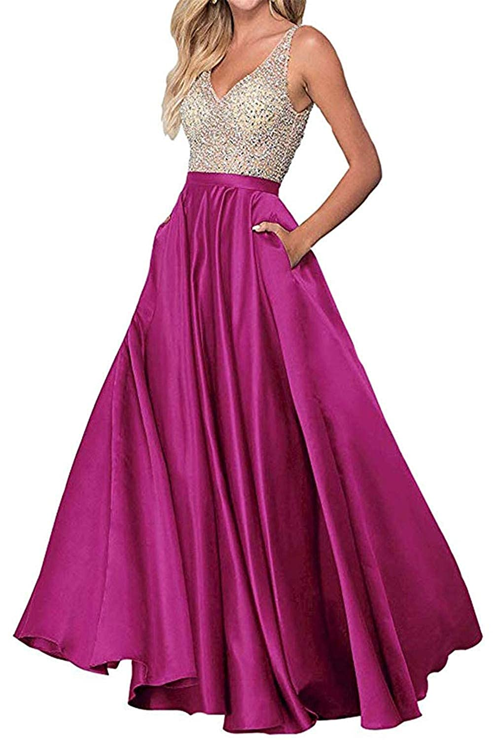 Fuchsia Sophie Women's ALine Long Prom Dresses Double VNeck Beaded Satin Evening Party Gowns S294