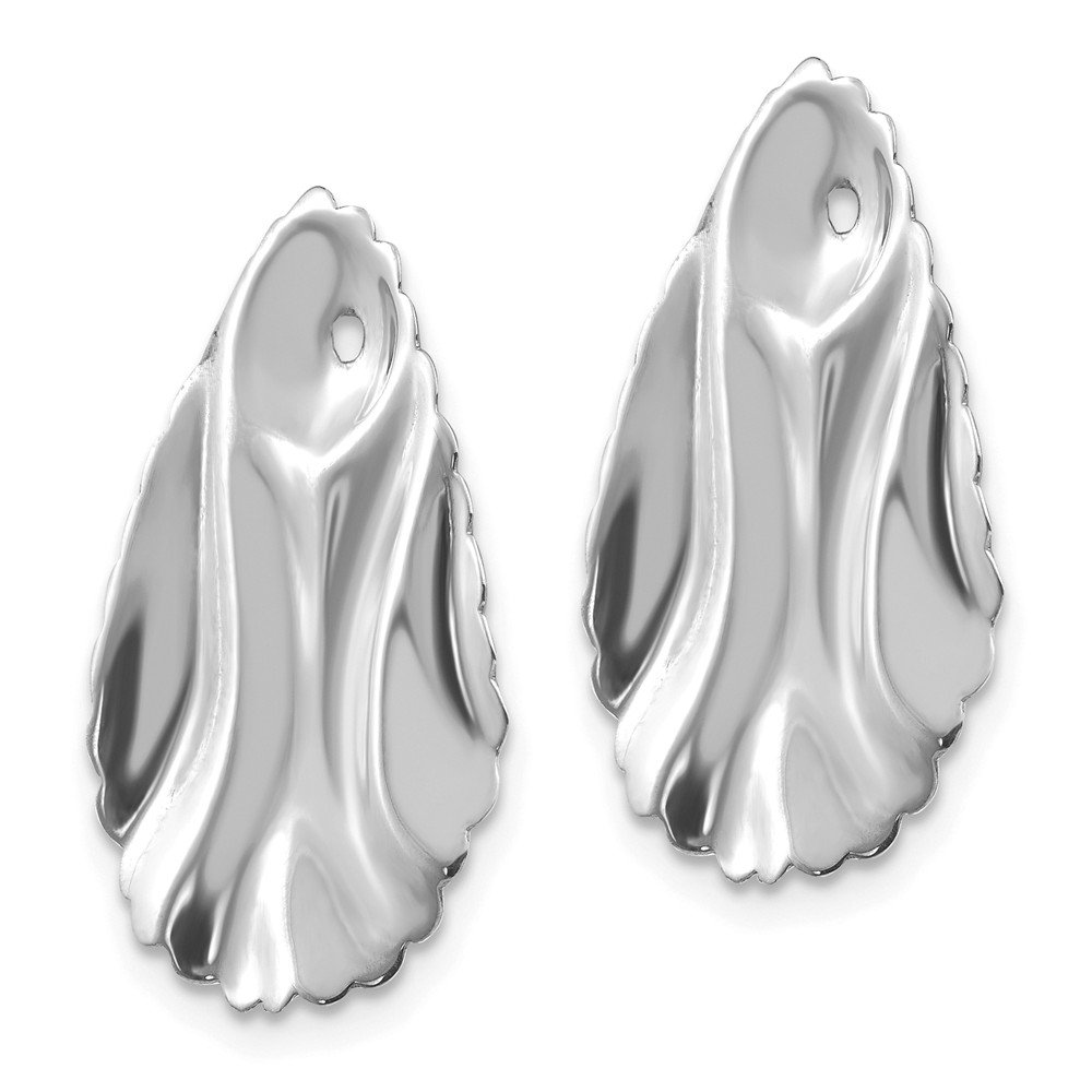 14k Gold Polished Oval Shape Hammered Texture Jackets for Stud Earrings 0.91 Height