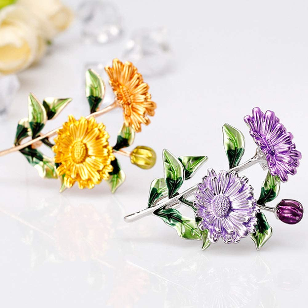 Apol Set of 3 Sunflower Brooches Enamel Brooch Pins Breastpin for Women Girls Clothes Collar Dress Scarf Decoration