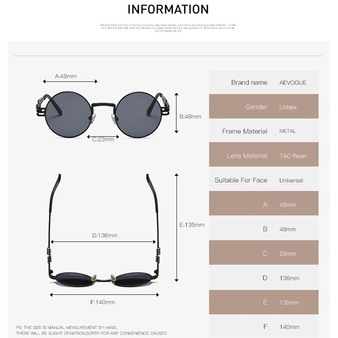 AEVOGUE Sunglasses Steampunk Style Round Metal Frame Unisex Glasses AE0539 (Gold&Black, 48) by AEVOGUE (Image #5)