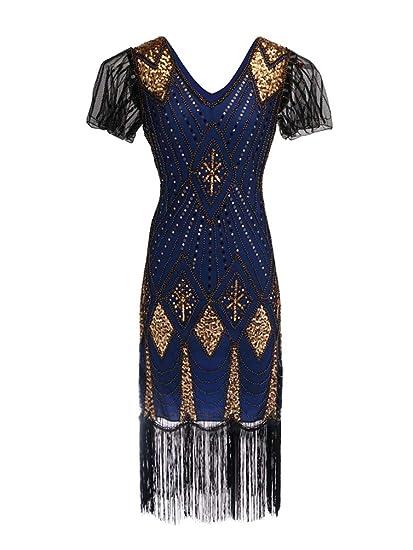 Kaiyei Grande Gatsby Vestito delle Donne 1920 s di Paillettes Vintage Art  Deco Doppio Flapper Abiti Vintage con Scollo A V Vestito da Partito  Abbellito con ... 6ff279719eb