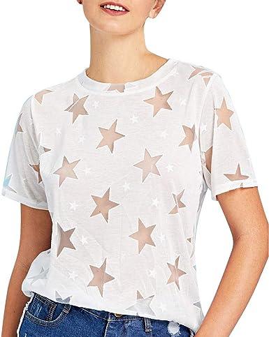 Blusas Mujer Verano, Lunule Camiseta de Verano de Manga Corta con Estampado de Estrellas de Mujer Camisas Tops Casuales Mujer de Fiesta: Amazon.es: Ropa y accesorios