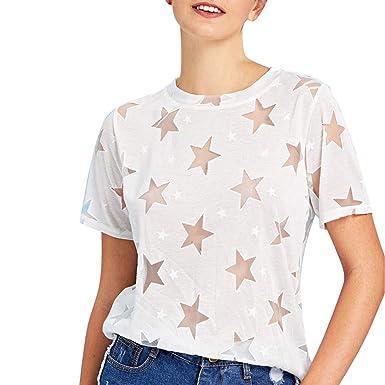 Mujeres Verano Moda Camisetas Perspectiva Hueca Suelta Pullover ...