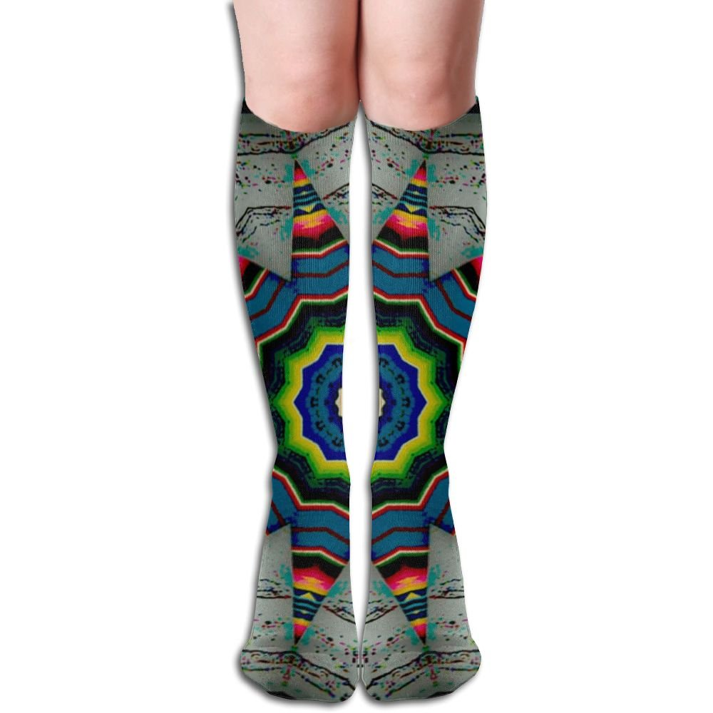 Unisex Knee High Long Socks Kaleidoscope Special Pattern Over Calf Casual Sport Stocking Cotton
