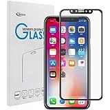Qosea iPhoneX フィルム iPhone X ガラス 全面液晶保護 日本製旭硝子素材 3D touch 対応 iPhone 10 ガラスフィルム スクラッチ 指紋 飛散防止 ブラック
