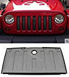 E-cowlboy Stainless Front Hood Grille Bug Screen 3D Mesh Grill Insert Black for Jeep Wrangler Rubicon Sahara Jk 2007-2015