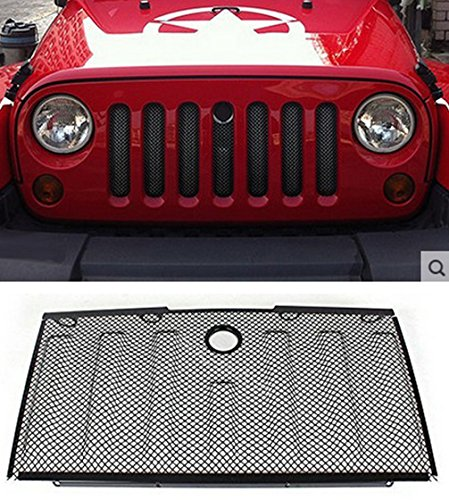 E-cowlboy Stainless Front Hood Grille Bug Screen 3D Mesh Grill Insert Black for Jeep Wrangler Rubicon Sahara Jk 2007-2015 (Grille Insert Screen Stainless)