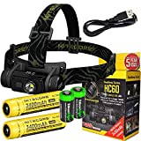 Bundle-Nitecore-HC60-1000-Lumens-CREE-XM-L2-U2-LED-headlamp-with-two-Genuine-Nitecore-NL189-18650-3400mAh-Li-ion-rechargeable-batteries-and-Two-EdisonBright-CR123A-Lithium-Batteries