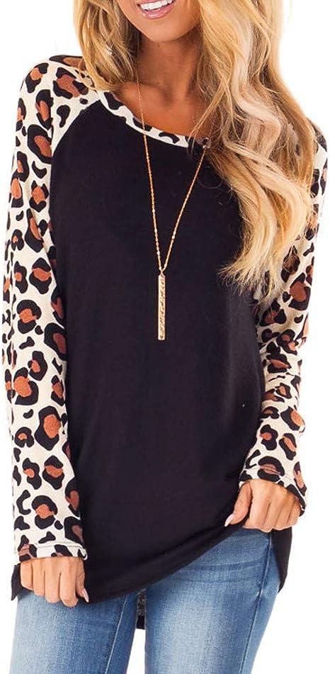 Mujer camiseta,🍒 Madeuf 🍒 Camisa Mujer Patrón de leopardo ...