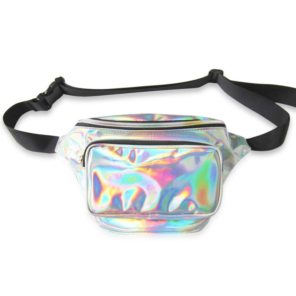 Silver Hologram Fanny Pack - Water Resistant Shiny Neon Fanny Bag for Women Rave Festival Holographic Bum Travel Waist Pack