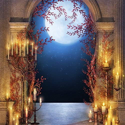 Laeacco 10x10FT Vinyl Photography Background Fantastic Halloween Moon Horror Night Castle Arched Door Stone Pillar Candle Lights Backdrop Shooting 3(W) x3(H) m Photo Studio -