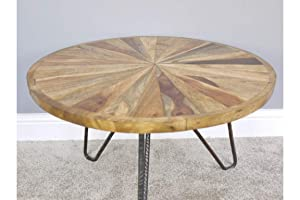 Priti Wooden Coffee Table with Katra Top (Multicolour)