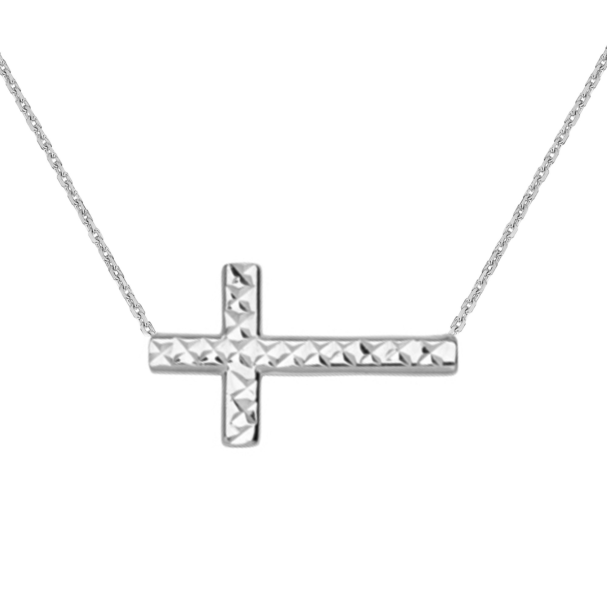 Ritastephens 14K White Gold Sideways Reversible Shiny Diamond-cut Cross Necklace Adjustable Chain 16-18 Inches (Yellow, Pink, or White)