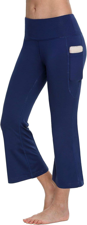 BALEAF Womens Yoga Capri Pants Flare Workout Bootleg Crop Leggings