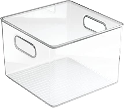 'InterDesign Refrigerator, Freezer and Pantry Storage Container – Food Organizer Bin for Kitchen – Medium, Clear' from the web at 'https://images-na.ssl-images-amazon.com/images/I/61F23d0L6eL._AC_SY375_.jpg'