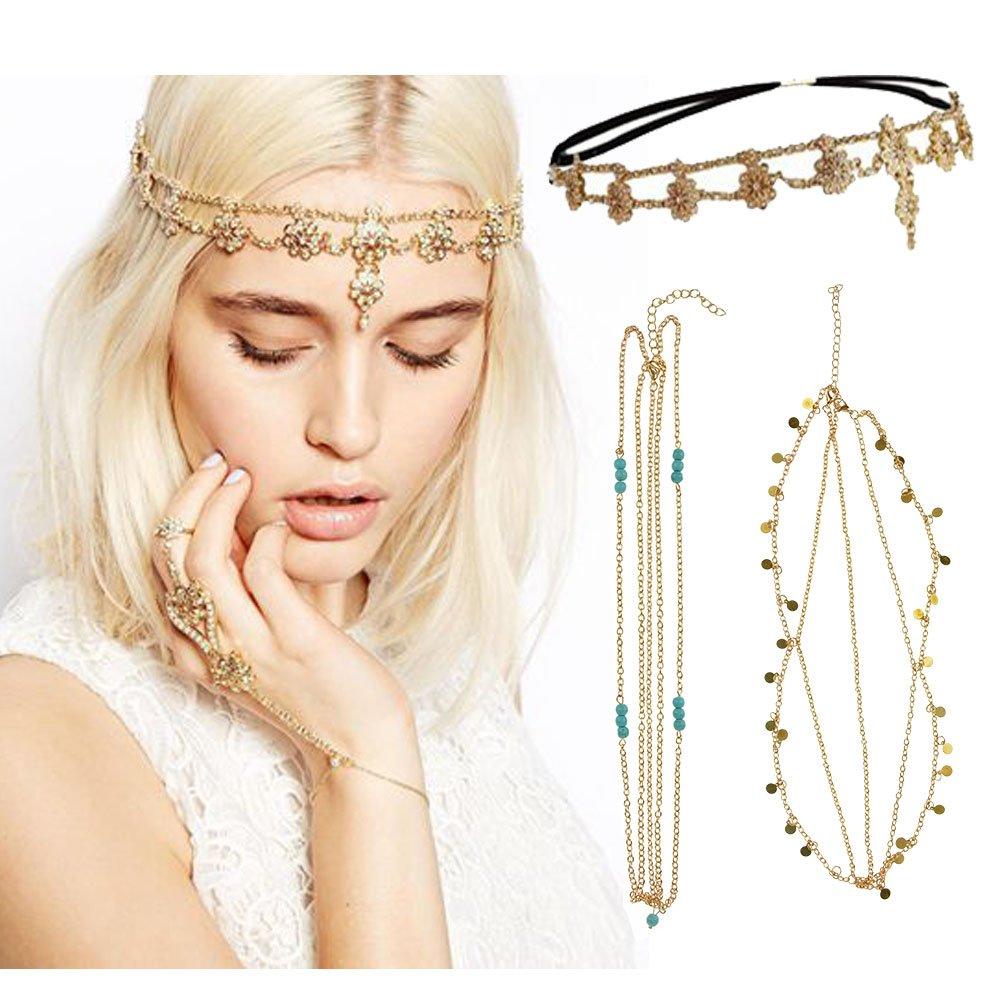 DRESHOW Head Chain Hair Accessories Bohemian Diamond Pearl Tassel Hair Band Alice Band Gold Leaf Chain Headband 3 Pack HB0008-6