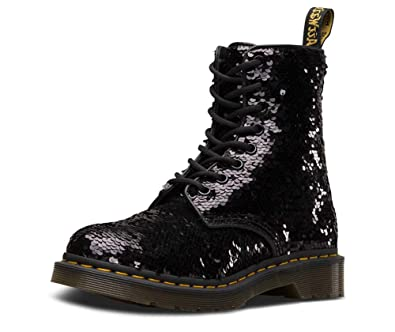 a2003db5be1 Dr. Martens Womens 1460 Pascal Sequin Black Silver Two Tone Ankle Boots -  Black -