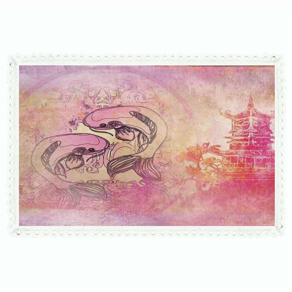 iPrint 日本の長方形ポリエステルリネンテーブルクロス/アジア民族の海のイラスト カーブした波型アクア バブルサンシンボル レイ/ディナーキッチンホーム装飾用 55インチx72インチ スカイブルーホワイト 60