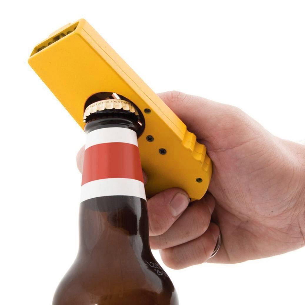 SUGEER Flying Zappa Beer Drink Bottle Opener Cap Launcher Top Shooter & Launcher Shooter with Keychain -Cap Zappa Beer Bottle Opener and Cap Launcher Shoots for Fun