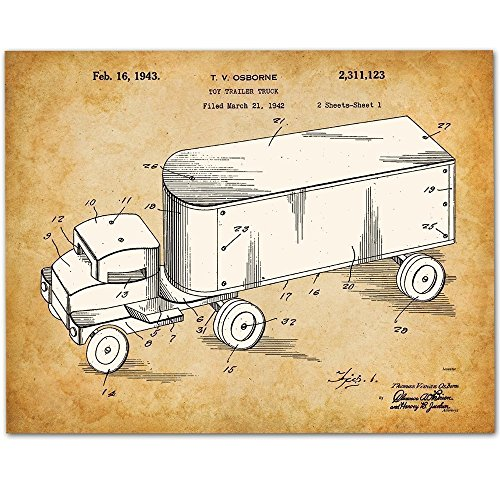 Tonka Toy Truck Patent - 11x14 Unframed Patent Print - Art for Boy's Room from Personalized Signs by Lone Star Art