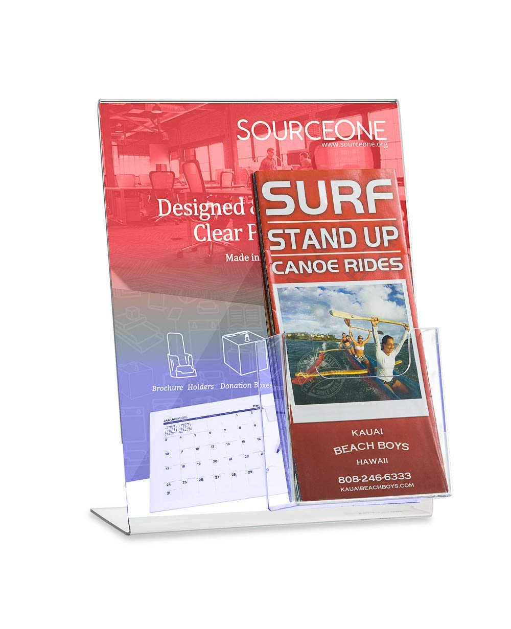 Source One LLC Slant Back Sign Holder PREMIUM 8.5 x 11 Inches with TriFold Brochure Pocket (12 Pack)