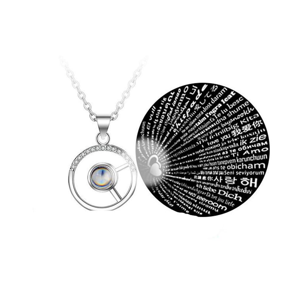 SUNNY Day Personalized Customized Photo Necklace 925 Sterling Silver Projection Necklace in 100 Different Languages