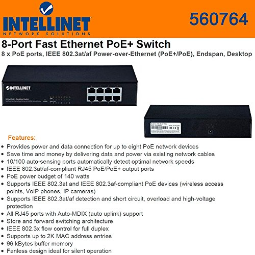 Intellinet 8-Port PoE+ Desktop Switch (560764) by Intellinet
