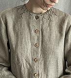 Linen Dress Embroidered loose linen dress linen women's clothing buttons grey linen dress breastfeeding dress mama dress long sleeve