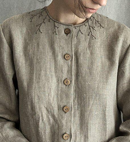 Linen Dress Embroidered loose linen dress linen women's clothing buttons grey linen dress breastfeeding dress mama dress long sleeve by Kinzzza