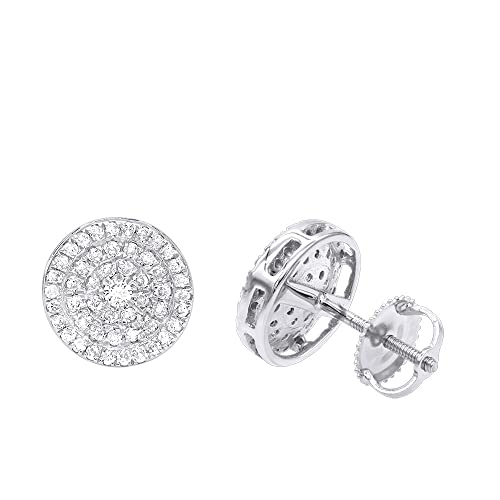 c715b406788c9 Ladies 14K Gold Pave Round Diamond Cluster Earrings Stud 0.5ctw by Luxurman