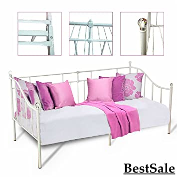 Admirable Joyida Home 3Ft Single Sofa Bed Frame White Metal Crystal Ball 3 Seater Design Furniture Short Links Chair Design For Home Short Linksinfo