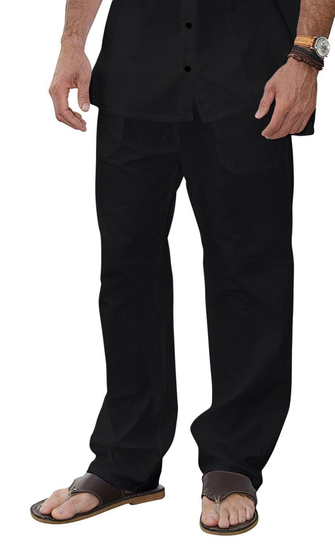 M&B USA Cotton White Pants Summer Beach Elastic Waistband Casual Pants (Large, Black)