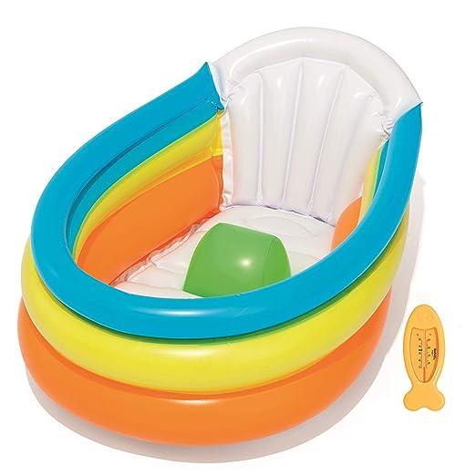 Baño de Bebé Hinchable | ¡Casa o Viaje! | Fácil de Inflar Bañera Portátil para Bebés | Incluye Termómetro Divertido | Tapón Incorporado | Comfort ...