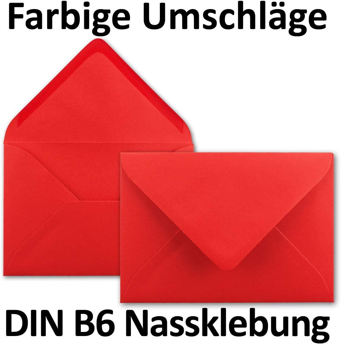 Neuser chiusura adesiva da inumidire 25 Umschl/äge Leuchtendrot Buste da lettere da 80 g//m/² in colori vivaci formato B6 dimensioni/175 x 125/mm