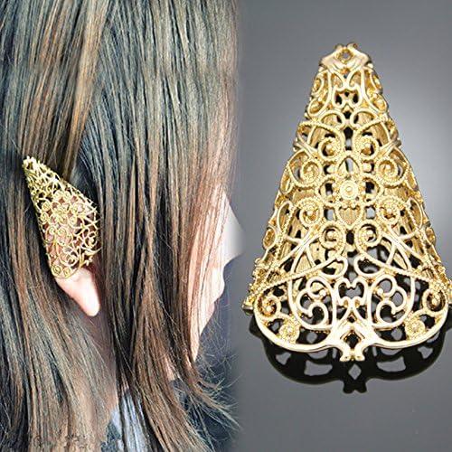 RechicGu 1Pair Bloggers Fairy Elf Pixie Filigree Cut Out Angel Ear Tip Cuff Earrings Fancy Dress