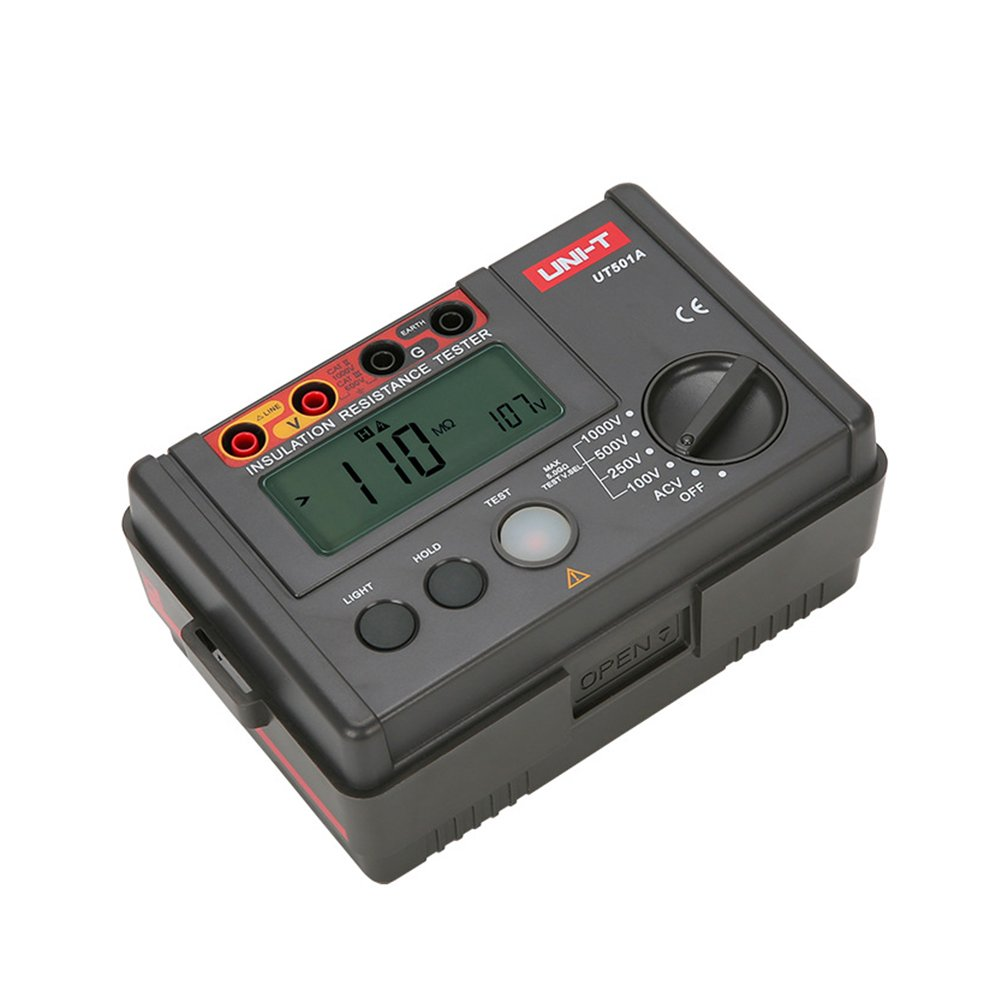UKCOCO Digital Insulation Resistance Tester Megohm Meter with Backlight LCD Display Black (Battery Not Included)