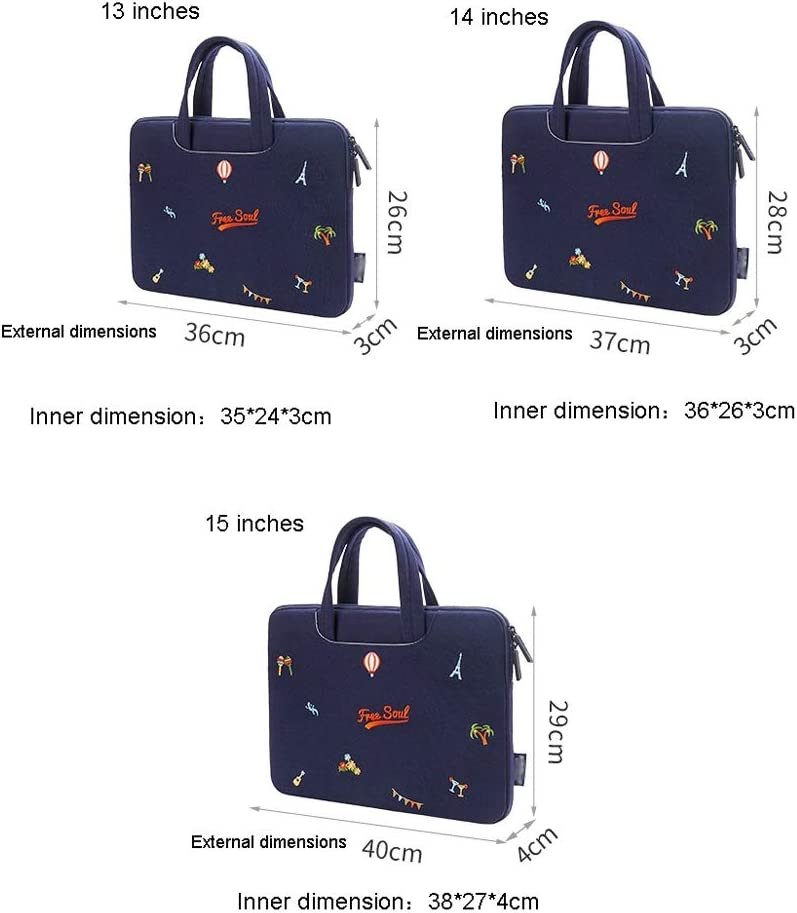 Xinxinchaoshi Ladies Laptop Bag Canvas Laptop Briefcase Case Sleeve for 13 Inch 14 Inch 15 Inch Laptop Case (Navy Blue) Color : B, Size : 13 Inch