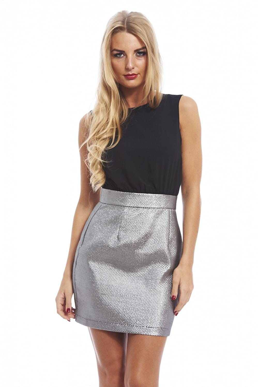 AX Paris Women's Metallic Skirt Two In Oneblack Dress